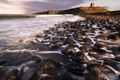 Картинка море, волны, природа, камни, скалы, берег, крепость