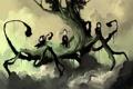 Картинка облака, дерево, девочки, сердце, мальчик, арт, стрела