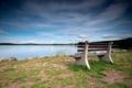 Картинка небо, природа, озеро, берег, лавка