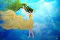 Картинка небо, девушка, облака, лучи, арт, vocaloid, hatsune miku