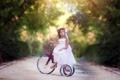 Картинка осень, велосипед, девочка