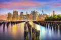 Картинка город, огни, рассвет, небоскребы, USA, америка, сша