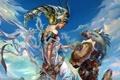 Картинка девушка, облака, рыбы, металл, магия, арт, куб