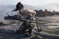 Картинка девушка, горы, кровь, лук, арт, Tomb Raider, lara croft
