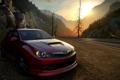 Картинка дорога, закат, горы, Need for Speed The Run, Subaru Impreza wrc