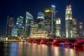 Картинка ночь, мост, city, Сингапур, высотки, Singapore, мега