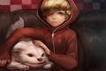 Картинка собака, мальчик, арт, капюшон, кофта, gd choco