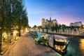 Картинка деревья, мост, город, река, Франция, Париж, лодки