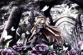 Картинка девушка, бабочки, цветы, спокойствие, розы, руины, жест