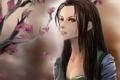Картинка девушка, цветы, дерево, сакура, арт, Nami