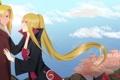 Картинка девушка, нежность, сакура, парень, Наруто, Naruto, жест