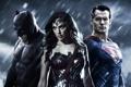 Картинка Batman, Superman, wonder woman, diana, Trinity, Henry Cavill, Gal Gadot