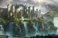 Картинка пейзаж, птицы, город, замок, скалы, водопад, фэнтези
