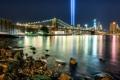 Картинка ночь, город, огни, пролив, камни, здания, Нью-Йорк