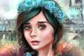 Картинка девушка, лицо, замок, розы, арт, венок