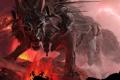 Картинка лава, рога, Fenrir, клыки, пасть, доспехи, волк