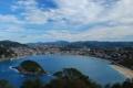 Картинка небо, облака, горы, город, остров, бухта, Испания