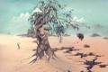 Картинка Сюрреализм, женщина, John Pitre, носорог, дерево