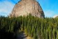Картинка лес, Канада, скалы, деревья, горы, Банф, камни
