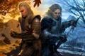 Картинка зима, осень, листья, снег, печаль, меч, кольцо