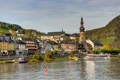 Картинка река, Cochem, германия, городок, улица, дома, паром.