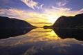 Картинка закат, река, mountains, reflection, sunset, отражение, горы