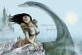 Картинка грудь, девушка, мост, озеро, замок, ветер, существо