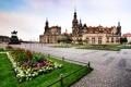 Картинка цветы, Германия, Дрезден, памятник, церковь, клумба, Germany