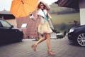 Картинка девушка, зонтик, юбка, зонт