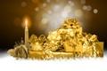 Картинка снежинки, абстракция, роза, свеча, подарки, золотой, Новогодние