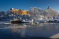 Картинка зима, снег, дом, корабль, вода