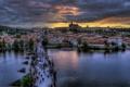 Картинка город, река, люди, вечер, Прага, Чехия, Prague