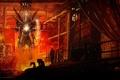 Картинка металл, огонь, провода, завод, человек, робот, арт