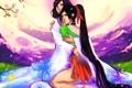 Картинка девушки, аниме, сакура, арт, кимоно, цветение, длинные волосы