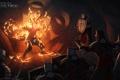 Картинка огонь, маг, воины, confrontation, Dragon Age: Inquisition