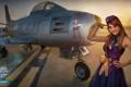 Картинка девушка, солнце, самолет, платье, girl, aviation, авиа