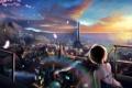 Картинка девушка, закат, город, арт, панорама, спиной, huykho192