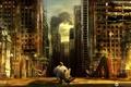 Картинка город, попугай, развалины, носорог, desktopography, постапокалептика