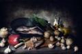 Картинка грибы, еда, рыба, лук