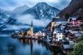 Картинка зима, село, Австрия, Гальштат