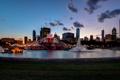 Картинка вечер, Чикаго, фонтан, USA, Иллинойс, Chicago, Illinois