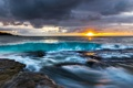 Картинка волны, солнце, шторм, океан, рассвет, побережье