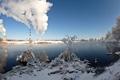 Картинка зима, пейзаж, трубы, город, река, дым