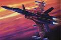 Картинка самолет, рисунок, истребитель, ракеты, арт, подвески, macross zero