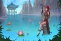 Картинка вода, девушка, горы, озеро, скалы, арт, лотос