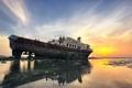 Картинка закат, пейзаж, корабль, море