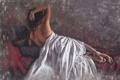 Картинка девушка, волосы, спина, кровать, руки, арт, лежит