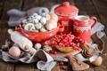 Картинка ягоды, яйца, натюрморт, красная смородина