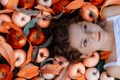 Картинка осень, яблоки, девочка