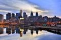 Картинка отражение, река, вечер, США, Филадельфия, набережная, небоскрёбы